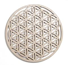 SACRED GEOMETRY: Mathematically perfect ratios and lines, this Flower of Life, (also known as Seed of Life or Genesis Pattern) is estimated to be at least a 6000 year old symbol. MEANINGS: The Flower of life represents a deeper meaning for ma...