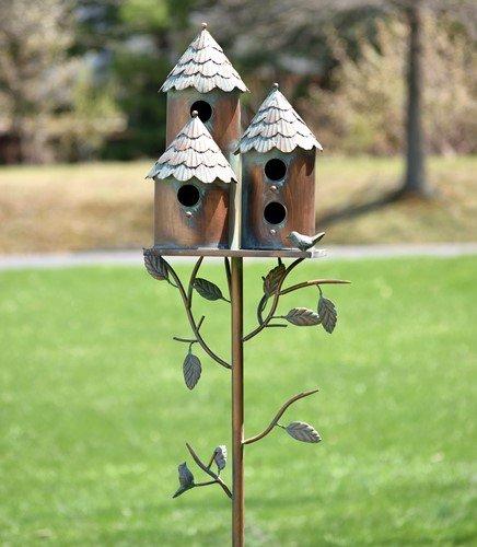 Copper Songbird House - TisYourSeason Copper Finish Songbird Deluxe Bird House Condominium Stakes (Round)