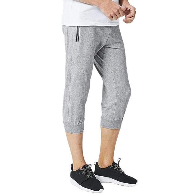 Men/'s Capri Jogger Sports Shorts Baggy Harem Cropped Pants Hip Hop Rope Trousers