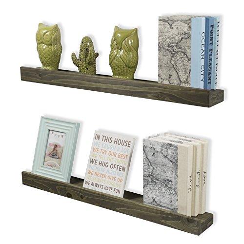 ArtifactDesign Wood Floating Wall Ledge Shelf Walnut Finish 30 Inch Set of 2 (Oak Light Media Unit)