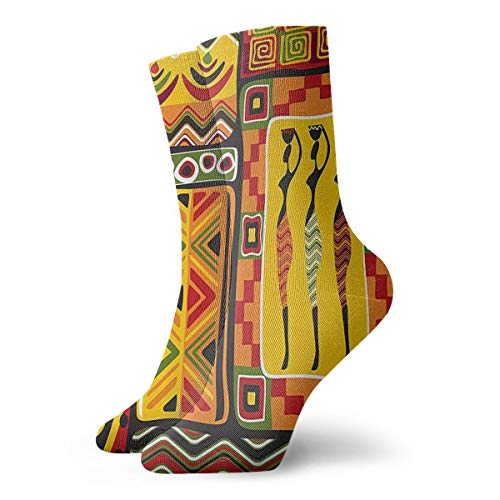KAHDKI African Elements Decorative Historical Original Striped Compression Socks Training Socks Crew Athletic Socks for Women and Men-Best Medical, Nursing, Travel & Flight Socks ()