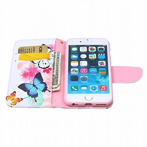 LEMORRY iphone 6 Plus / 6S Plus Flip Etui Housse, [Double Imprimé] Floral Papillon Durable Soft TPU Coque + PU Cuir Portefeuille Cards Stand Magnétique Sangle Flexible Skin Protecteur