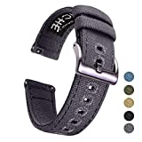 18mm Canvas Quick Release Watch Band Grey Replacement Watch Straps for Men Women