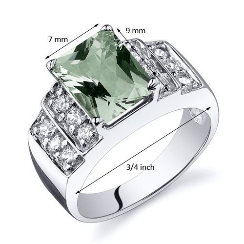 Green Amethyst Step Ring Sterling Silver Rhodium Nickel Finish 2.00 Carats Sizes 5 to 9