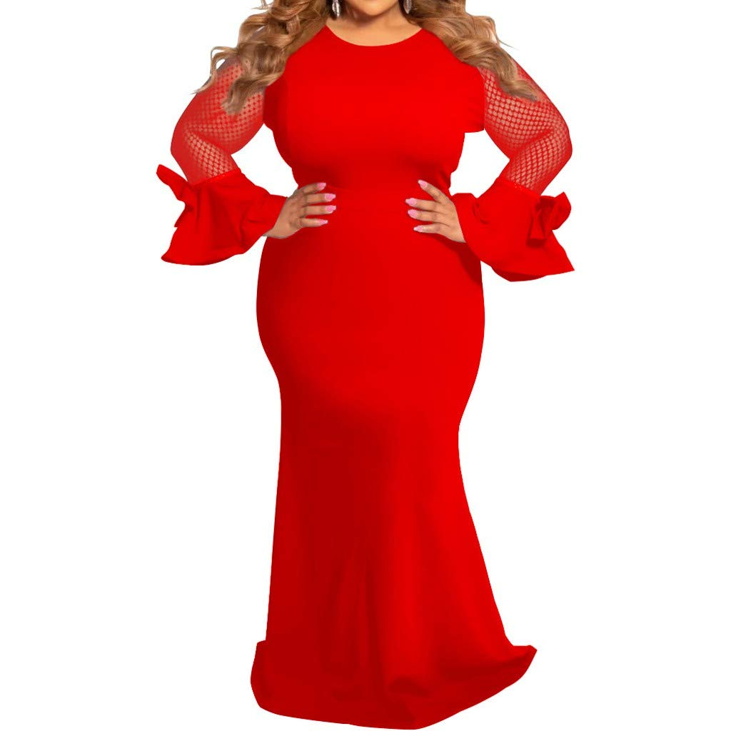 SEXYTOP 2019 New Women Fashion Dresses Solid Mesh Sleeve Hollow Out Bell Cuff Plus Size Crew Neck Maxi Dress Vestidos Red by SEXYTOP
