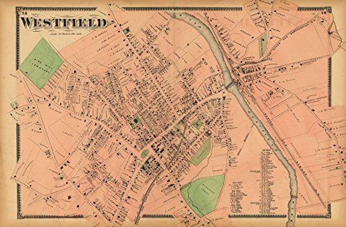 Atlas of Hampden County Massachusetts, Westfield 1870 |24in x 16in Historic City Map Vintage - County Westfield North Map