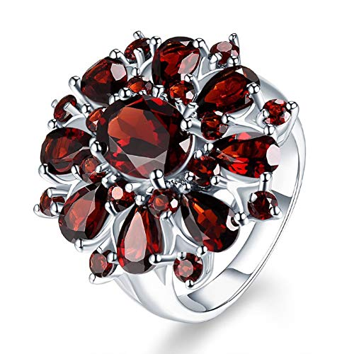 nanzhushangmao Inlaid Pomegranate Ruby Ring, Fashion Full Diamond Cluster Engagement Promise Ring