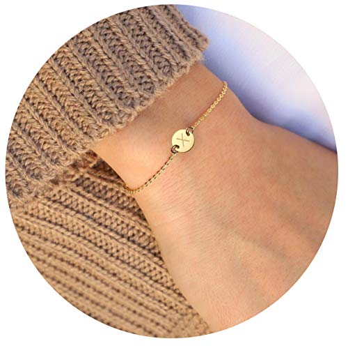 MOMOL Initial Charm Bracelets, 18K Gold Plated Stainless Steel Dainty Small Round Coin Disc Initial Bracelet Engraved Letter X Personalized Name Bracelet for Women Girls Kids (X)