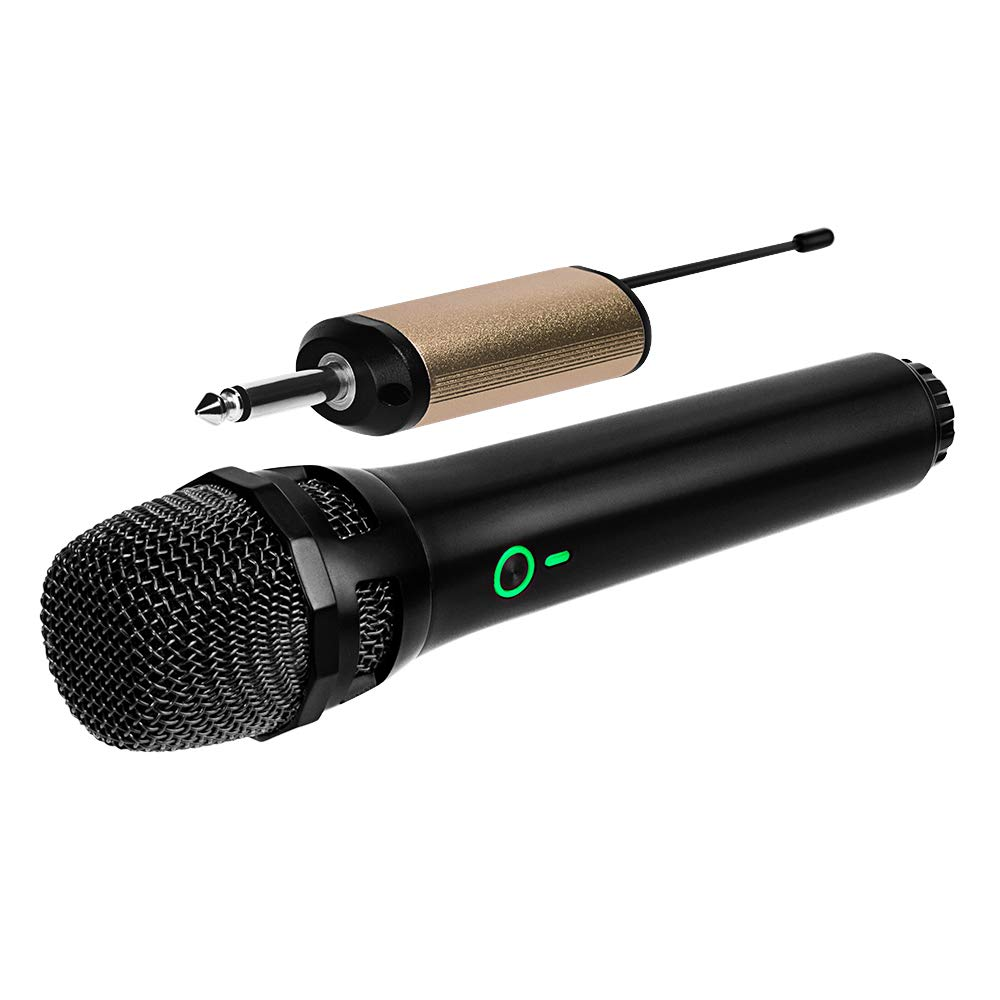 Ankuka Wireless Dynamic Microphone, UHF Cordless Microphone System with Portable Receiver 6.5mm Output & 3.5mm Output Adapter for House Parties, Karaoke, Business Meeting