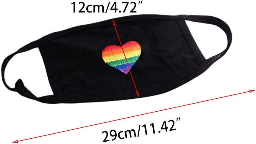 nashiourty Unisex Dust Cover Rainbow Embroidered Heart Gay Pride with Earloop