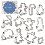 Winter Christmas Cookie Cutter Set with Recipe Book - 11 Piece - Snowflake, Sweater, Snowman, Gingerbread Boy, Snow Tree, Angel, Star, Christmas Tree, Snowflake, Candy Cane, Reindeer - Ann Clark