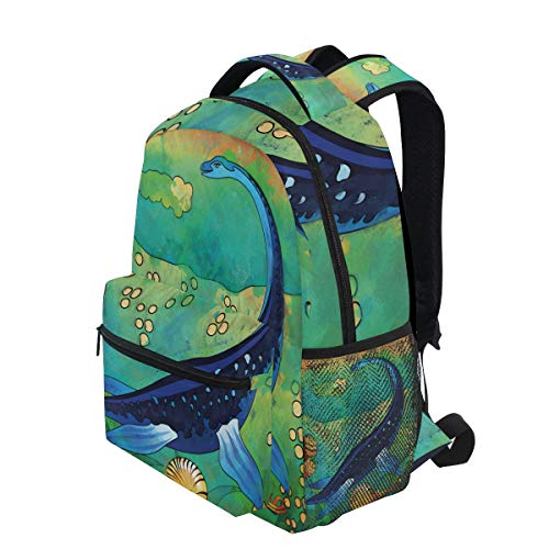 KVMV Ancient Wild Sea Creature Plesiosaurus in Its Underwater Habitat Lightweight School Backpack Students College Bag Travel Hiking Camping Bags ()