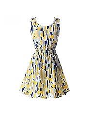 Women Sleeveless Sundress Beach Floral Vest Tank Chiffon Mini Dress