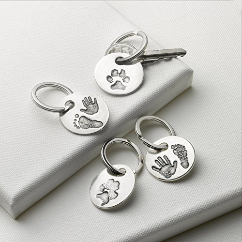 Personalized Print Keyring with Yours or Your Own Child's Handprint and Footprint Impressions by Silver Print Creations