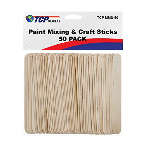 (TCP Global Wood Paint Mixing Sticks - 50 Pack - Automotive, Crafts, Airbrush, Art)