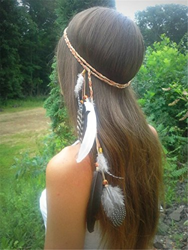 ZWZCYZ Feather Headband Women Girls BOHO Indiana Peacock Feather Fascinator Headpiece with Bead Braided Beach Hair head band Headband Prop Headdress Fancy Dress Headpieces Hippie Christmas Nice Gifts - Head Princess Indian