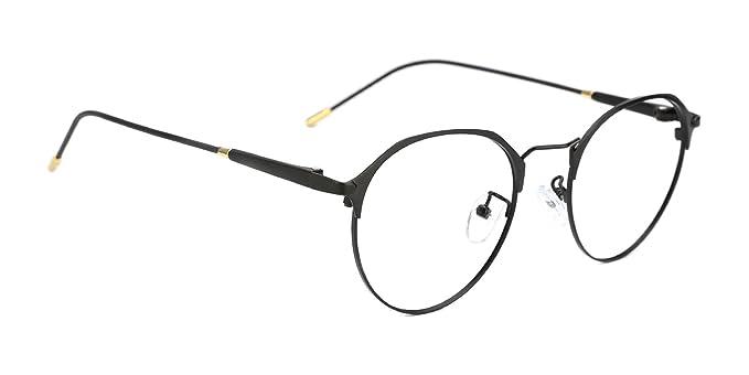 b47ef37e647 TIJN Metal Retro Eyeglasses Frame Eyewear Optical Round Eyeglasses Frame  with Clear Lenses for Men and Women(Black)  Amazon.co.uk  Clothing