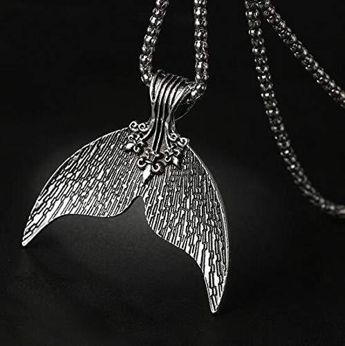 NOUMANDA Antique Silver Whale Tail Mystical Mermaid Pendant Necklace Charm Choker Jewelry