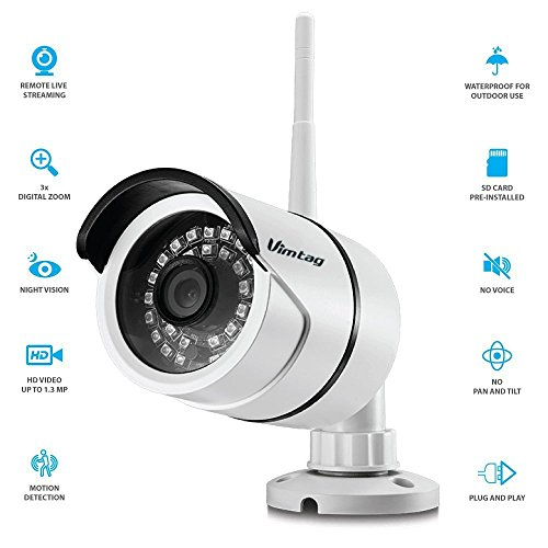 Amazon Lightning Deal 70% claimed: Vimtag® Wi-Fi ProHD Outdoor Wireless IP Security Bullet Camera Weatherproof, Video Monitoring,Day Night IR-CUT, Motion Detection Push Alerts ,linkage snapshot/video recording, real-time App push notifications?B1 White?