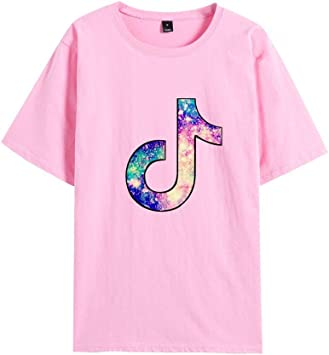 LBTIAN TIK TOK Impreso Casual de Cuello Redondo de Manga Corta de la Camiseta Floja de Primavera Verano Moda Unisex de los Puentes Tops (Color : F, Size : M): Amazon.es: Deportes