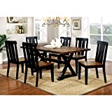Furniture of America Lara Farmhouse Style 7-Piece Two-Tone Antique Oak & Black Dining Set For Sale