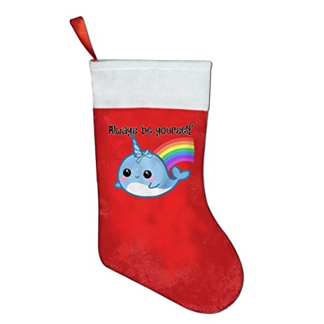 the always be a narwhal rainbow christmas stockings xmas candy gift bag socks hanging decoration