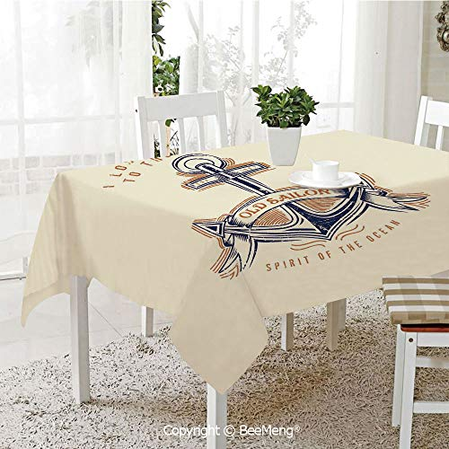 (BeeMeng Spring and Easter Dinner Tablecloth,Kitchen Table Decoration,Anchor Decor,Old Sailor Spirit Sign Firmly Anchored to The Ocean Illustration in Vintage Style,Orange Blue Yellow,59 x 83 inches)