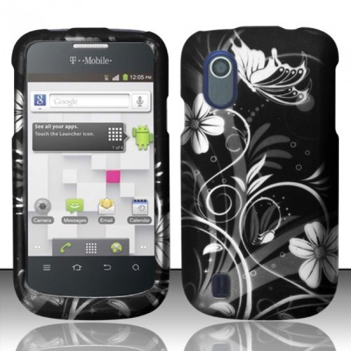 White Flowers Design Rubberized - For ZTE Concord V768 (T-Mobile) Rubberized Design Cover Case - White Flowers