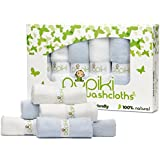 Pupiki Baby Washcloths: 6 Ultra-Soft 100% Organic Bamboo Baby Washcloth Hypoallergenic Face towels Extra-Absorbent 10X10 Newborn Premium Towel Pack for Boys & Girls Great Baby Shower Gift White & Blue