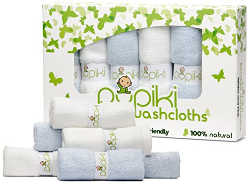 Pupiki Baby Washcloths: 6 Ultra-Soft 100% Organic Bamboo Baby Washcloth + Wash Bag Hypoallergenic Face towels Extra-Absorbent 10X10 Newborn Towel for Boys & Girls Great Baby Shower Gift White & Blue