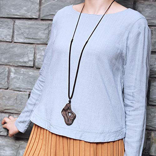Sandalwood Pendant Sweater Chain Long Set Simple High-end Chinese Original Design Retro National Wind Pendant Necklace