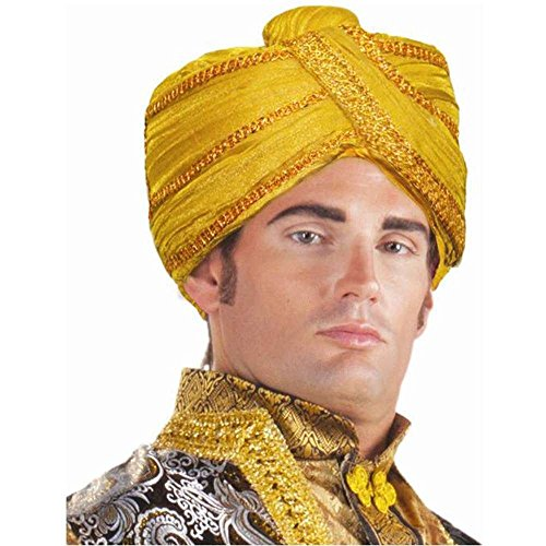 Forum Novelties Men's Maharaja Turban Costume Accessory, Gold, One Size