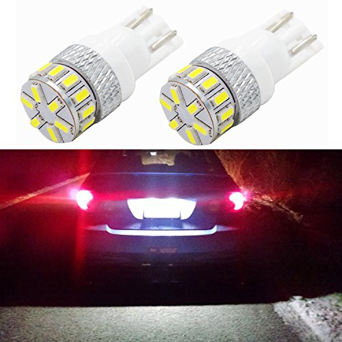 Alla Lighting New Version T10 194 LED Bulb 4014 18-SMD Xtremely Super Bright T10 Wedge LED 194 168 175 2825 W5W 6000K White 12V 194 W5W Bulb for 194 License Plate Tag Light Lamp Bulbs (set of 2)