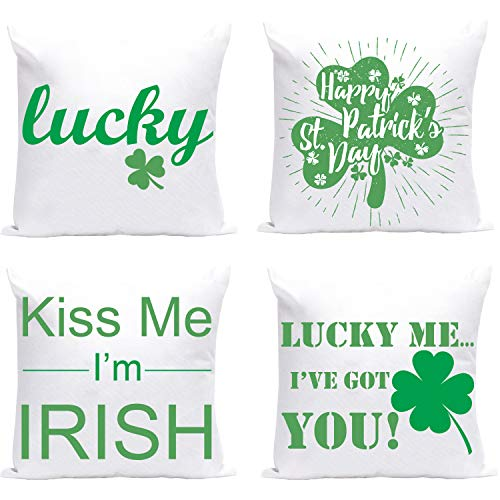 Whaline 4 Pieces St. Patrick Pillow Case Irish Green Shamrock Cushion Cover, Cotton Linen Sofa Bed Throw Cushion Cover Decoration (18