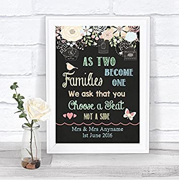 Shabby Chic Pretty Chalkboard Style Choose A Seat Not Side ...