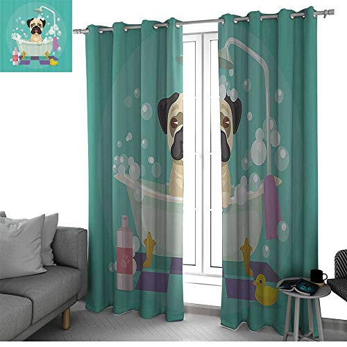 Exposed Tub Collection (bybyhome Nursery Decor Collection Curtains for Sliding Glass Door Pug Dog in Bathtub Grooming Doggy Puppy Salon Service Shampoo Rubber Duck Pets Cartoon Image Drapes Panels Teal W120 x L96 Inch)
