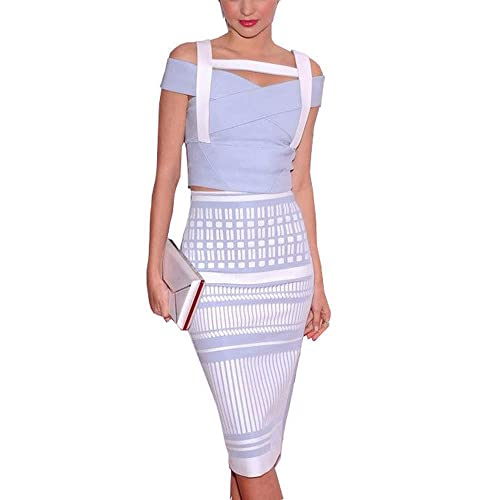 HLBandage 2 Piece Patchwork Jacquard Midi Sexy Rayon Bandage Dress