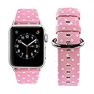 Apple Watch Band 38mm, Wolait iWatch Wristband Replacement Strap for Apple Watch Series1 Series2 Series3-White Polka Dots in Pink Background