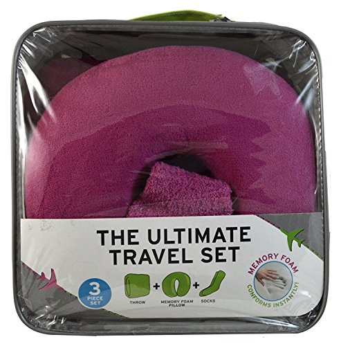 Pillow Throw Ultimate - The Ultimate Travel Set 3 In One Memory Foam Pillow Throw And Socks