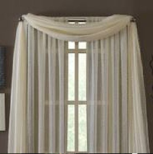 MONAGIFTS BEIGE IVORY CREAM OFF WHITE Scarf Voile Window Panel Solid sheer valance curtains 216″ LONG