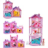 Doll House Toy Furniture Playset ,Pretend Play Princess Cottage,Plastic House Building Blocks Construction Toys, Assembly Handmade Craft Build House Kit with Furniture