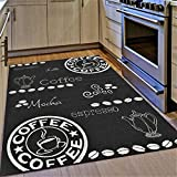 XRUG Kitchen Rug Coffee Design Black and White Hard Wearing 80x150 cm - 2'6'x5' ft Flat Woven Floor Carpet Mat Outdoor Indoor Areas