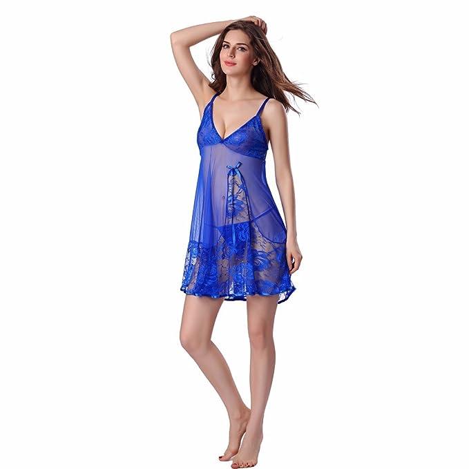 8317c1852c10 Drfoytg Babydoll Women V Neck Lingerie Dresses Sexy Lace Nightwear Supple G-String  Sleepwear (