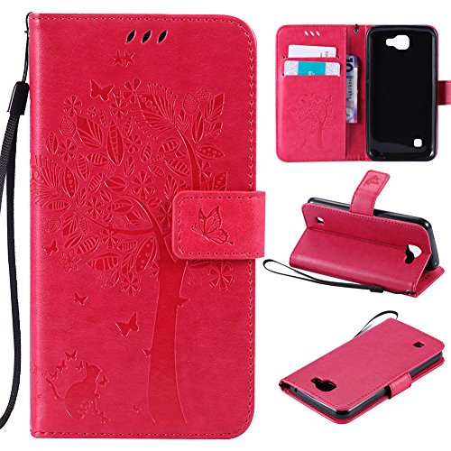 Lily Cell Phone Snap - LG Optimus Zone 3/LG Spree/LG K4 L44VL/LG K4 LTE Case,Best Share Embossing Fashion Floral Countryside Pattern PU Leather Flip Stand Wallet Case With Strap Card Slot Cover,Rose