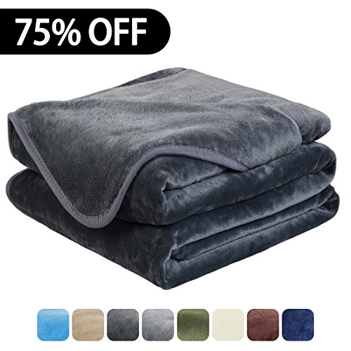 Luxury Fleece Super Soft Thermal Blanket Warm Fuzzy Microplush Lightweight Blankets for Bed Sofa, Seashell Series,Throw,50 by 61 Inches,Dark (Microplush Throw)