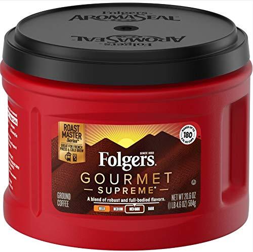 - Folgers Ground Coffee Caffeinated, Dark Roast, Gourmet Supreme, 3 Count