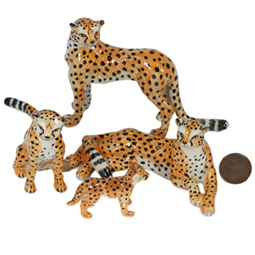 Animal Ceramic Statue (4 Cheetah Tiger Family SET Ceramic Pottery Statue Miniature Animal Figurine Hand Painted)