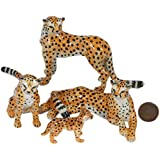 4 Cheetah Tiger Family SET Ceramic Pottery Statue Miniature Animal Figurine Hand Painted