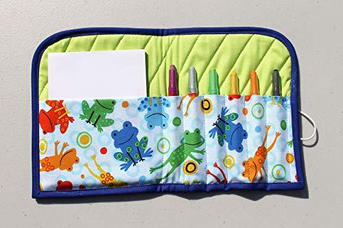 Estuche para crayolas, con block y crayolas incluidas, porta crayolas, con tela de algodón con diseños infantiles,...