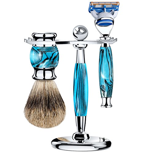 Grandslam Safety Razor Double Edge Shaving Kit for man +Mach Fusion 5 and 10 Satety Razor Blades + Razor Stand + Finest Badger Hair Brush - Great Gift for Men and Women (fusion 5, blue)